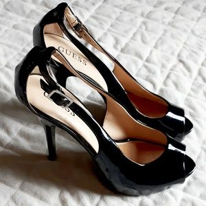 Black High Heel Peep-Toe Shoes by Guess❤Size 9.5